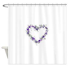 Purple Flower Heart Shower Curtain