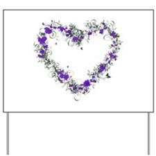 Purple Flower Heart Yard Sign