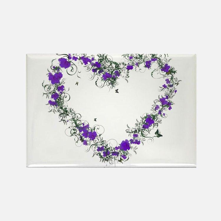 Purple Flower Heart Magnets