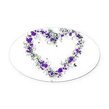Purple Flower Heart Oval Car Magnet