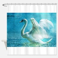 Swan Flapping Wings on Water Shower Curtain