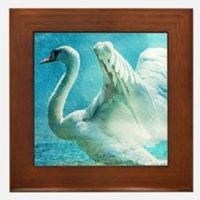 Swan Flapping Wings on Water Framed Tile