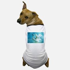 Swan Flapping Wings on Water Dog T-Shirt