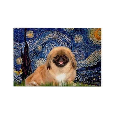 Starry Night Pekingese Rectangle Magnet