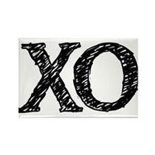 XO - black and white Rectangle Magnet