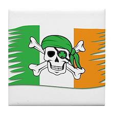 Irish Pirate Flag - Jolly Roger Tile Coaster