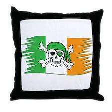 Irish Pirate Flag - Jolly Roger Throw Pillow