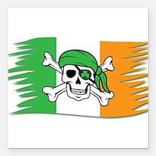 "Irish Pirate Flag - Joll Square Car Magnet 3"" x 3"""