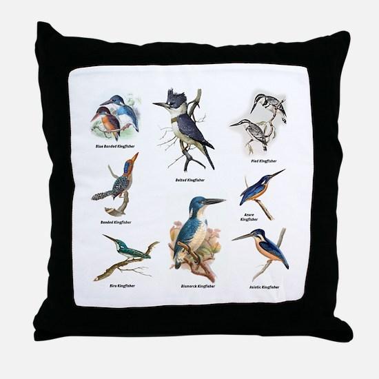 Birder Kingfisher Illustrations Throw Pillow