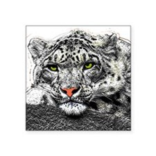 "Snow Leopard Square Sticker 3"" x 3"""