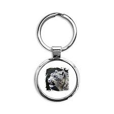 Snow Leopard Round Keychain