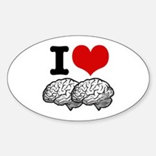 I Love Brains Oval Decal