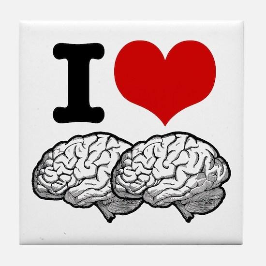 I Love Brains Tile Coaster