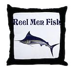 Reel men fish Throw Pillow