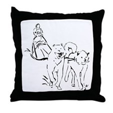 Dog Sled Racing Throw Pillow