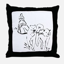 Dog Sled Racing Throw Pillow