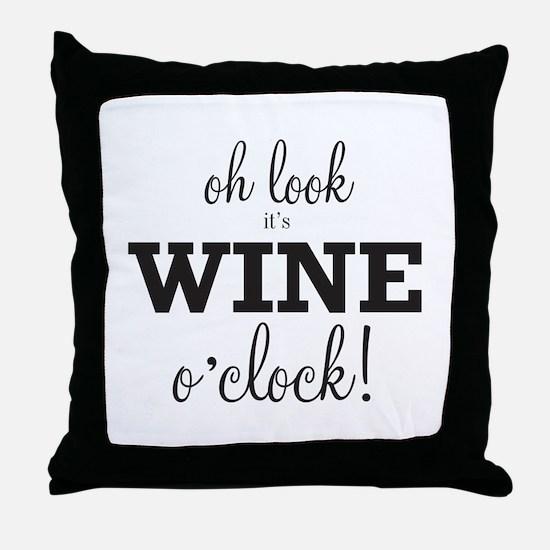 Wine O Clock Throw Pillow