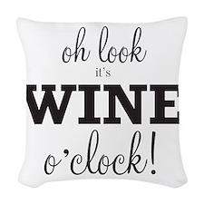 Wine O Clock Woven Throw Pillow