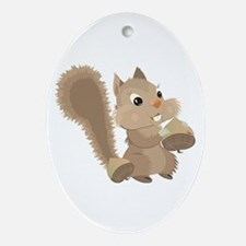 Forest Squirrel Ornament (Oval)