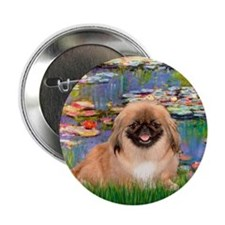 "Lilies & Pekingese (#1) 2.25"" Button (10 pack)"