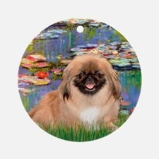 Lilies & Pekingese (#1) Ornament (Round)