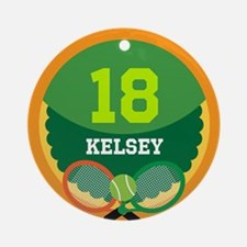 Personalized Tennis Sports Number Ornament (Round)