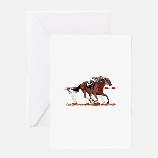 Jockey on Racehorse Greeting Cards