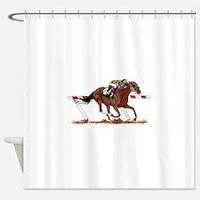 Jockey on Racehorse Shower Curtain