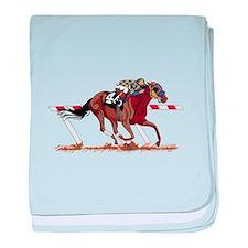 Jockey on Racehorse baby blanket