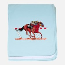 Jockey on Racehorse baby blanket