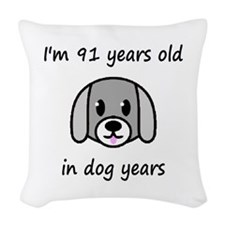 13 dog years 2 Woven Throw Pillow