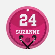 Field Hockey Personalized Girls Ornament (Round)