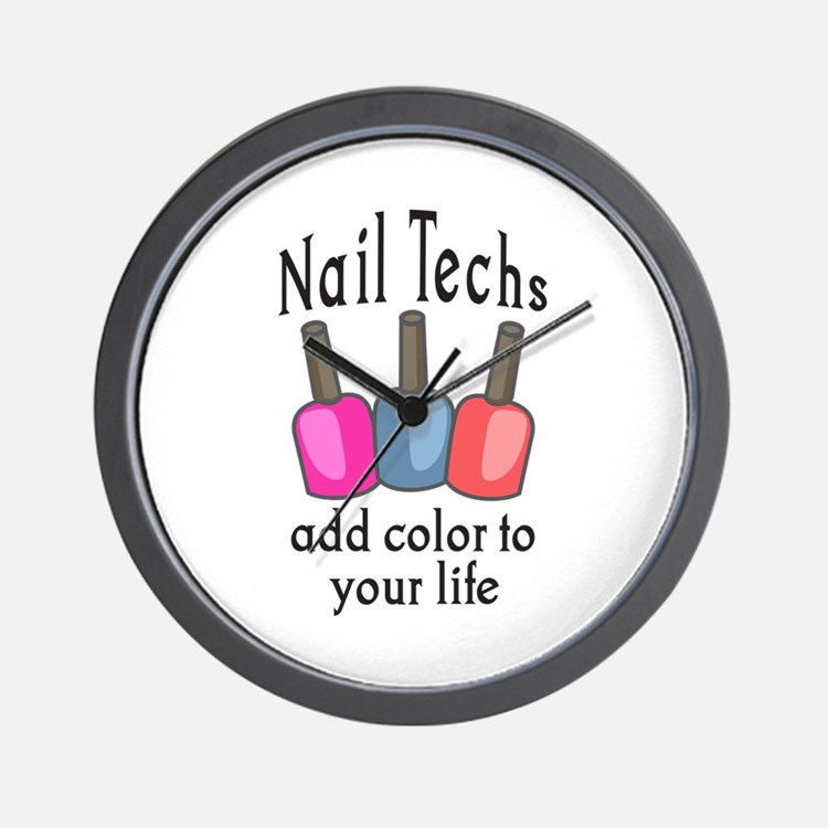 NAIL TECHS ADD COLOR Wall Clock