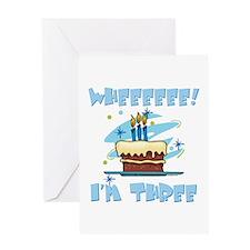 Wheee I'm Three Blue Greeting Card