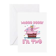 Whooo Hooo I'm Two Pink Greeting Card