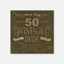 """Vintage Fifty Square Sticker 3"""" x 3"""""""