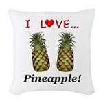 I Love Pineapple Woven Throw Pillow