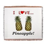 I Love Pineapple Woven Blanket