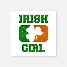 Irish Girl Shamrock Flag Sticker