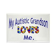 My Autistic Grandson Loves Me Rectangle Magnet