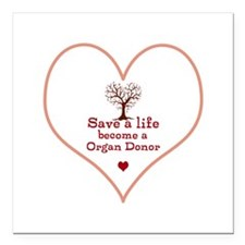 """Save a Life Heart Tree Square Car Magnet 3"""" x 3"""""""
