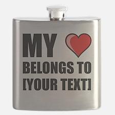 My Heart Belongs To Personalize It! Flask