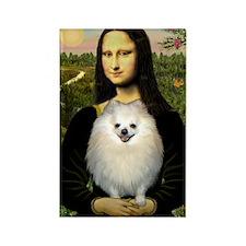 Mona's White Pom Rectangle Magnet