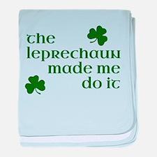 The Leprechaun Made Me Do It (Green) baby blanket