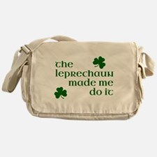 The Leprechaun Made Me Do It (Green) Messenger Bag