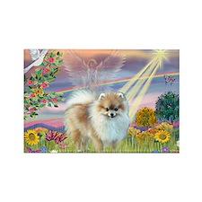 Cloud Angel & Pomeranian Rectangle Magnet