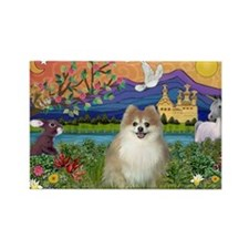 Pomeranian in Fantasyland Rectangle Magnet