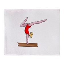 BALANCE BEAM GYMNAST Throw Blanket