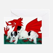Sealyham Pups in Welsh Flag Greeting Card
