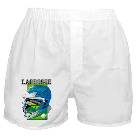 Lacrosse Helmet (Blue) Boxer Shorts